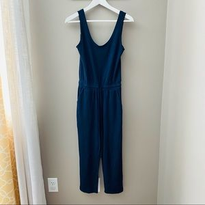 Earthbound Navy Velvet Jumpsuit Small
